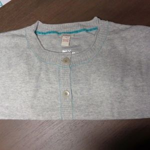 Cashmere Comfort Cardigan Gray and Teal M